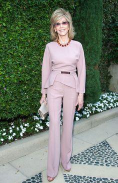 Jane Fonda Slacks - Jane Fonda completed her outfit with matching mauve slacks.