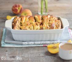 Pfirisch Faltenbrot - Peach Almond Brittle Pull Apart Caramel Bread | Das Knusperstübchen