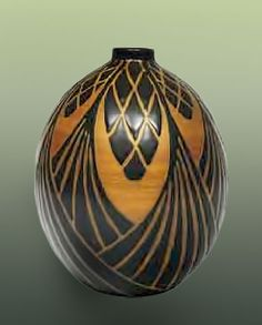 Charles CATTEAU Art Deco Vase, Two-colour design with stylized pine cones and pine needles, 1926