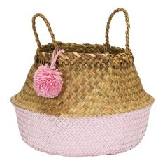 The PomPom basket is an all time favorite to storage your items. The basket is also a nice decoration. The basket is made of sea grass, this material Boho Stil, Large Baskets, Made Goods, Kidsroom, Kids House, Storage Baskets, Baby Love, Straw Bag, Pink