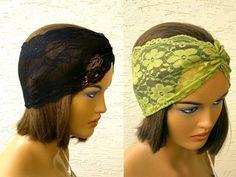 Lace headbands set strech headband turban by KnitterPrincess, $13.50