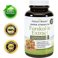 Pure And Natural Forskolin For Weight Loss – Coleus Forskohlii Root Weight Loss Pills For Men & Women – Boost Energy + Testosterone – Best Forskolin Extract To Burn Belly Fat By Nature Bound