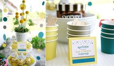 ✓ THE COLOR SCHEME: yellow, gray & teal from Sprinkled with Love Baby Shower (also love the decor & flowers)