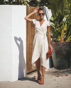 Sweetly Sprinkled Wrap Dress - FINAL - Sweetly Sprinkled Wrap Dress Source by takimaki - Casual Dresses For Women, Cute Dresses, Summer Dresses, Wrap Dresses, Dress Up, Wrap Dress Outfit, Wrap Dress Midi, White Wrap Dress, Boho Dress