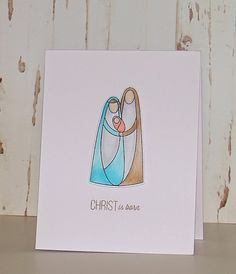 Christ Is Born - Handmade Christmas Cards - Nativity Scene - Whimsical - Copic Colouring - Stamping - Simon Says Stamp - CAS cards - CASology challenge - Clean and Simple cards - Paper and Beads Design - Joeann Isaac