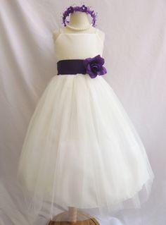 Robes fille fleur  Ivoire avec violet FD0RB2  par NollaCollection, $28,99