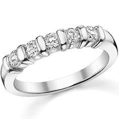 3.0mm Round Moissanite Bar Anniversary Ring, 0.50ct