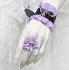 Pastel Goth cuff AND ring, Cute Pastel Lolita style bracelet with ring