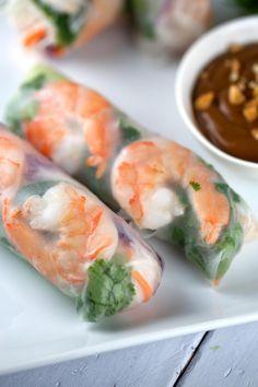 Fresh Shrimp Spring Rolls with Peanut Dipping Sauce