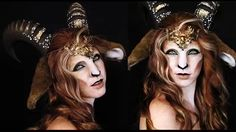 Faun Makeup Tutorial Mythological Creatures Collaboration You Faun Makeup, Elf Makeup, Cosplay Makeup, Costume Makeup, Makeup Art, Makeup Ideas, Medusa Make-up, Cabras Animal, Halloween Kostüm