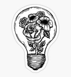 Pegatina bombilla de la flor