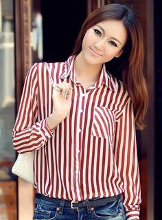 7afca47c224a3a Zeagoo Women s Stripes Long Sleeve Turn-down Collar Blouse Collar Shirts