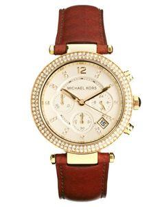 Michael Kors - Orologio cronografo con cinturino in pelle marrone