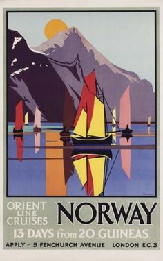 Norway by m v jones from king & mcgaw art deco posters, cool posters, design Art Deco Posters, Cool Posters, All Poster, Design Posters, Ec 3, Tourism Poster, Norway Travel, Advertising Poster, Vintage Travel Posters