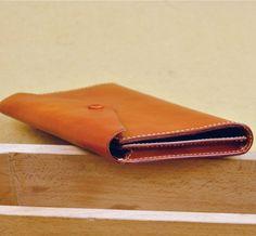 日式風格 植鞣牛皮 簡約 真皮多卡位 手拿包 信封包 5色選擇 - Luffy Handmade | Pinkoi