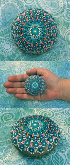 "Mandala Stone (Junior) by Kimberly Vallee: Hand painted with acrylic and protected with a matt finish, this ""junior"" stone is a bit smaller than my usual stones, at a little over 2"" diameter. It is one-of-a-kind."
