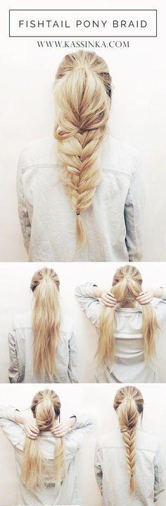 Fishtail Braid Ponytail Hair Tutorial | Kassinka | Bloglovin'