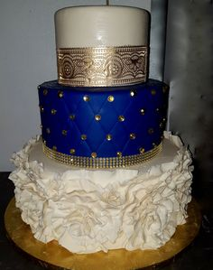 Gold lace and royal blue tiered cake relationship wants / royal blue dress for wedding / royal blue wedding dress / blue wedding dress royal / royal blue wedding Royal Blue Cake, Royal Blue Wedding Cakes, Navy Blue And Gold Wedding, Royal Blue And Gold, Royal Royal, Sweet 16 Decorations, Quince Decorations, 16 Birthday Cake, Sweet 16 Birthday