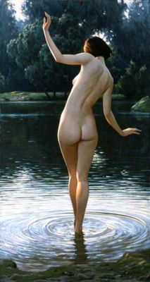 theadventuresofmichaelpawlak:  IgorBelkovsky (b. 1962) Bather, oil on canvas, 130 x 70cm, private collection. Igor Belkovsky is a Russian painter, member of Painters Creative Union  of  Russia and International Painters Confederation. His paintings are in art galleries and private collections of 17 countries  of the world, among which the USA, France, the UK, Germany, the Netherlands and Italy.