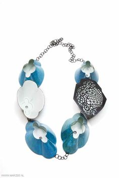 Vera Siemund - Necklace, 2013,  enamelled copper, steel mounted, enamelled, sawn, handmade chain - 220 x 300 x 40, one element  60 x 100 x 40 mm - blue lamp-shades, inside white like a basin, one shape covered with a sawn lace ornament