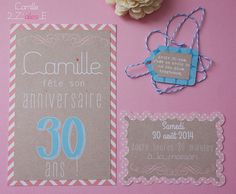 invitation #shabby #kraft #vintage #retro #birthdaygirl #dirty30 #birthday #fun #french