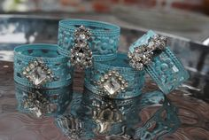 napkin rings up-cycled & repurposed from vintage rhinestone jewelry