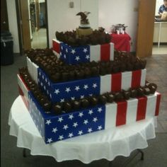 Eagle Scout Court of Honor cupcake display w/10 dozen cupcakes...hours of work but, well worth it!