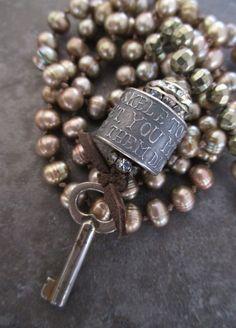 Knotted freshwater pearl vintage skeleton key long by slashKnots, $172.00