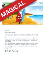 A printable Letter from Santa tropical template design featuring Santa with a surfboard on a beach with palm trees