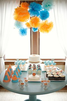 Jett's orange and blue monster birthday party - the dessert table.