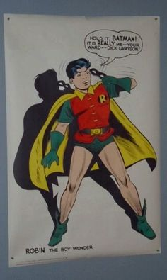 1966 Batman ally Robin poster from the 1960's. SEE 1000's MORE RARE VINTAGE MARVEL AND DC COMICS SUPERHERO POSTERS AND COMIC BOOK ART PAGES FOR SALE AT SUPERVATOR.COM