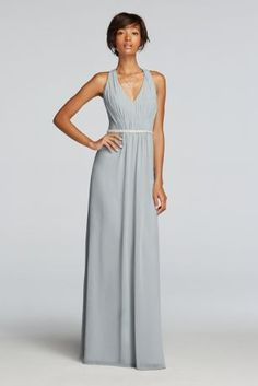 Float from aisle to dance floor in this long chiffon bridesmaid dress, featuring an elongating V-neckline and back and beaded belt.  Wonder by Jenny Packham- Exclusively at David's Bridal.  Sleevelesschiffon dress with deep v-neckline.  Criss cross, x-back design.  Beaded waist adds an element of sparkle.  Fully Lined. Zipper Side. Dry Clean Only. To protect your dress, our Non Woven Garment Bag is a must have!