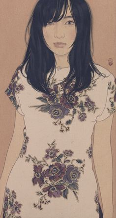In this piece Japanese artist Ikenaga Yasunari depicts the beauty of Japanese women and culture