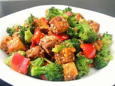 Krithi's Kitchen: Sesame Crusted Tofu Salad with Broccoli and Bell Pepper | Indian Tofu Recipes