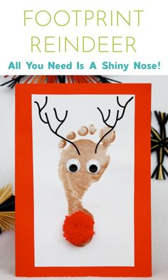 These DIY Reindeer Footprint Christmas cards are very very cute! Perfect Easy Christmas Card activity for Kids to make! Add this to the art lesson! #christmascraftsforkids #easychristmascrafts #footprintreindeer #reindeercrafts #kidsreindeercrafts #kidschristmascrafts #kidsactivies #kerst #easyfootprintcraftideas