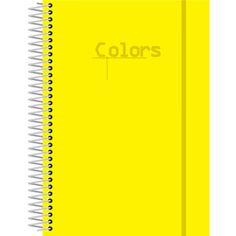 Caderno Universitário Espiral Capa Dura 1x1 96 folhas Confetti Neon Colors Amarelo