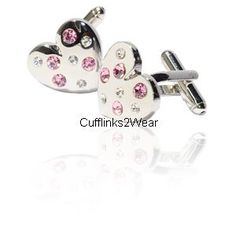 Pink & White Crystals Jewels Heart Cufflinks for women