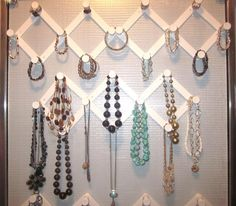 If you want a cheap, and very effective, way to organize jewelry, accordion hooks are a great choice. You just attach them to the wall and then you can use them to keep necklaces, bracelets and other jewelry items organized. They work great because they keep chains from becoming tangled and they look really nice on the wall. Plus, they are really inexpensive.
