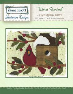 Winter Cardinal Wool Applique Pattern Download by Diane Knott LLC by DianeKnottLLC on Etsy