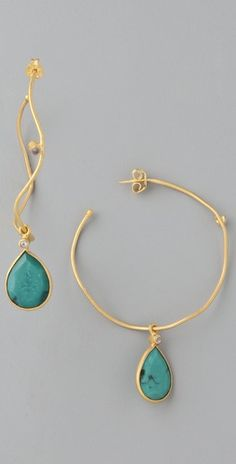 #gold and #turquoise hoop #earrings.