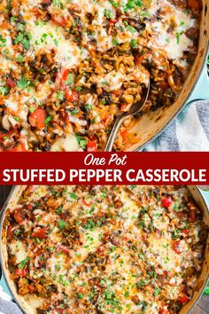 Stuffed Pepper Casserole This easy, healthy Stuffed Pepper Casserole takes classic stuffed pepper ingredients like rice, ground turkey (or ground beef), tomato, and Healthy Turkey Recipes, Healthy One Pot Meals, Minced Turkey Recipes, Crockpot Ground Turkey Recipes, Healthy Supper Ideas, Casseroles Healthy, Healthy Casserole Recipes, Healthy Weeknight Dinners, Dinner Healthy