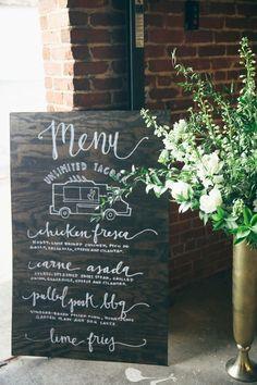 wedding menu sign, photo by Ashley Kickliter http://ruffledblog.com/alabama-railyard-wedding #weddingsign