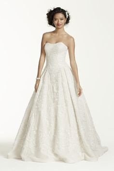 Oleg Cassini Petite Lace Tulle Wedding Dress - Ivory / Champagne, 2P
