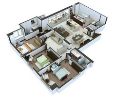 This layout actually makes space for a living area as well as a TV room, which can provide nice quiet time when necessary.