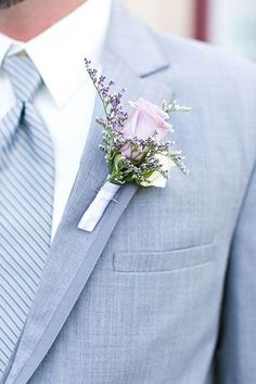 The groom's boutonniere is one of the few accessories for the groom. The small boutonniere declares the identity of the groom. The groom's boutonniere should be based on simplicity and smallness. Remember, the boutonniere and Read more… Lavender Boutonniere, Corsage And Boutonniere, Groom Boutonniere, Boutonnieres, Lavender Bouquet, Perfect Wedding, Dream Wedding, Wedding Day, Corsage Wedding