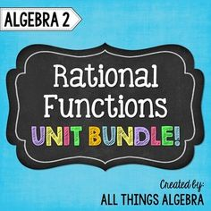 Rational Functions: Algebra 2 (Unit 8)This bundle includes notes, homework assignments, three quizzes, a study guide and a unit test that cover the following topics: Simplifying Rational Expressions Multiplying Rational Expressions Dividing Rational Expressions Adding and Subtracting Rational Expressions (Like Bases) Adding and Subtracting Rational Expressions (Unlike Bases) Simplifying Complex Fractions Applications Graphing Reciprocal Functions Graphing Rational Functions Identifying Key…