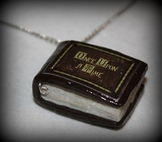 Polymer Clay Once Upon a Time Inpired Mini Story Book Necklace. $10.00, via Etsy.