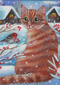 Orange Tabby Cat - Winter Xmas Painitng