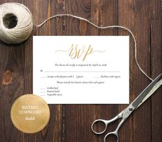 INSTANT DOWNLOAD Pdf Template 3,5x5 RSVP Card Wedding Rsvp postcards Editable Calligraphy Reply Card Printable Digital Gold #DP130_25 by DreamPrintable on Etsy