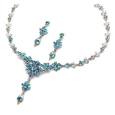 Blue Rhinestone Jewelry, Bridesmaid, Prom blue Necklace, Earring Set